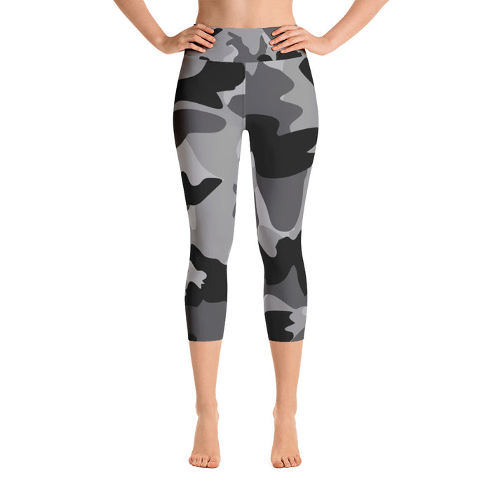 Black and White Camo Yoga Capri Leggings