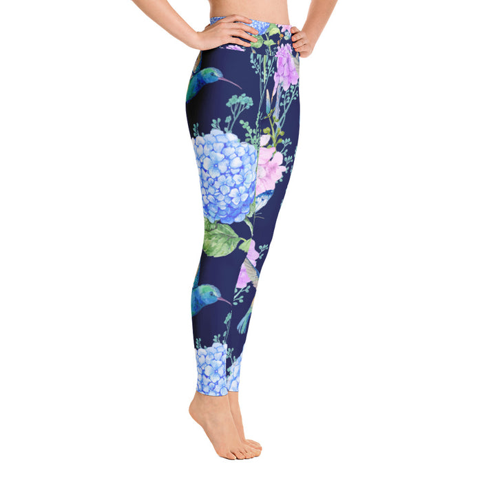 Cute Birds and Flowers Yoga Leggings