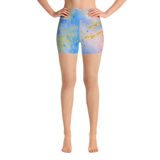 Blue Watercolor Yoga Shorts