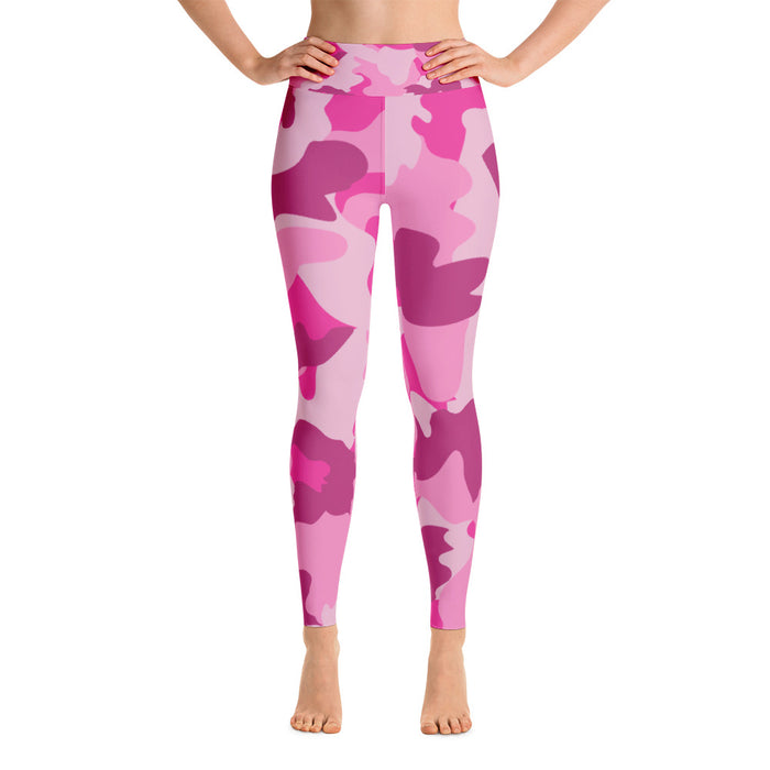 Cute Pink Camo Yoga Leggings