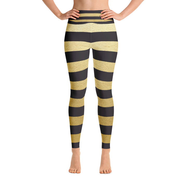 Black and Gold Stripe Yoga Leggings