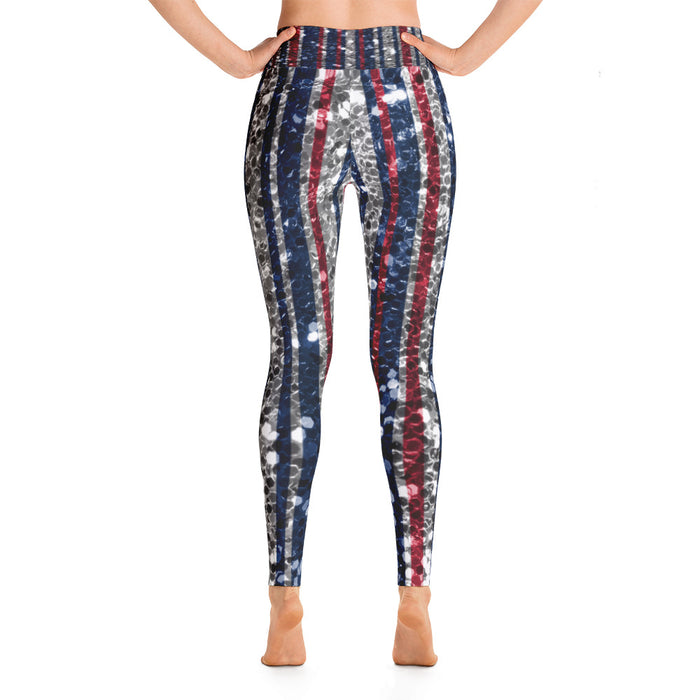 July 4th US Flag Glitter Yoga Leggings