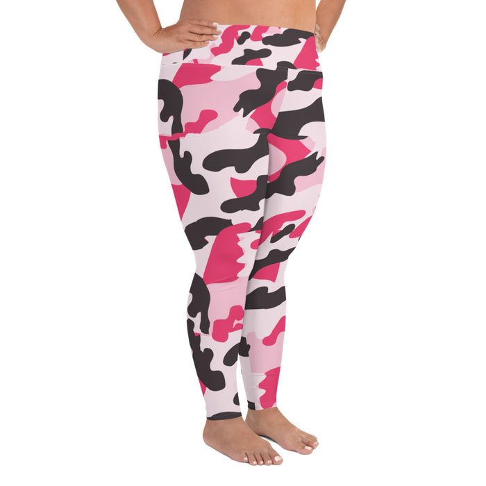 Cute Pink and Black Plus Size Yoga Leggings (up to 6XL ) - Cool XL Leggings - Women's Plus Sized Yoga Leggings – Plus Size Workout Pants – Plus Sized Gym Leggings