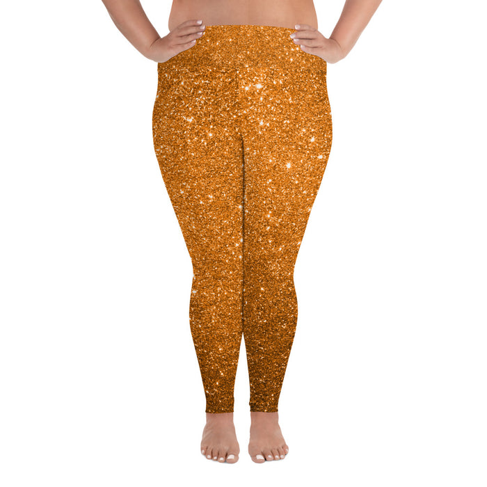 Orange Glitter Effect Plus Size Yoga Leggings (up to 6XL ) - Cool XL Leggings- Women's Plus Sized Yoga Leggings –Plus Size Workout Pants –Plus Sized  Gym Leggings