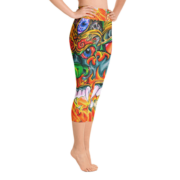 Cool Dragon Art Yoga Capri Leggings