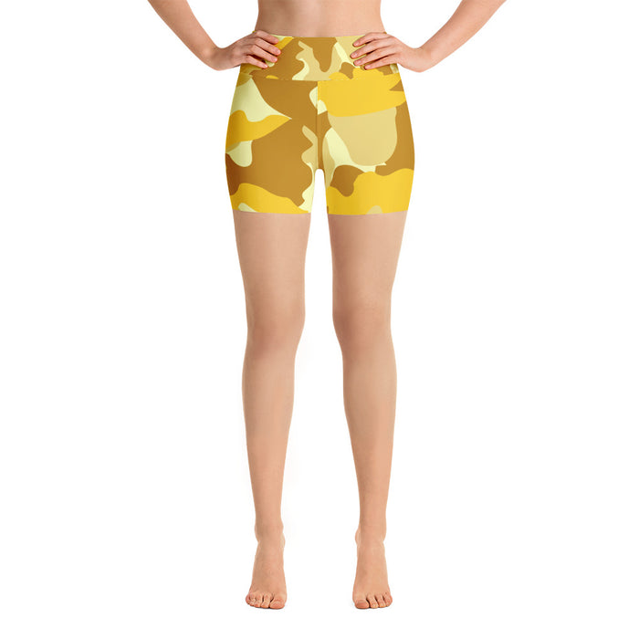 Classic Cute Yellow Camo Yoga Shorts
