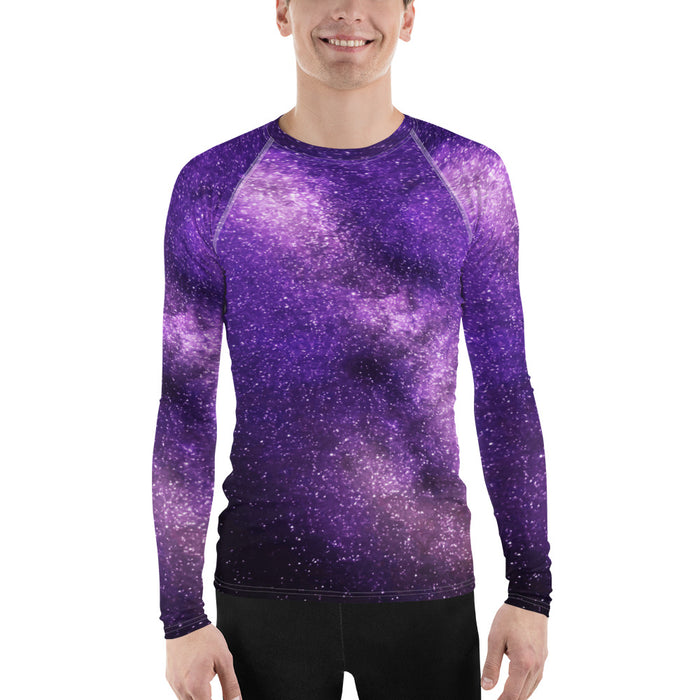 Cool Space Men's Rash Guard - Galaxy Print Rash Guard for Men (for BJJ, Judo and more)