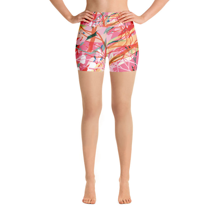 Pink Color Splash Yoga Shorts