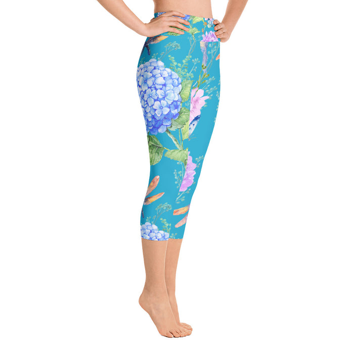 Flower and Birds Yoga Capri Leggings