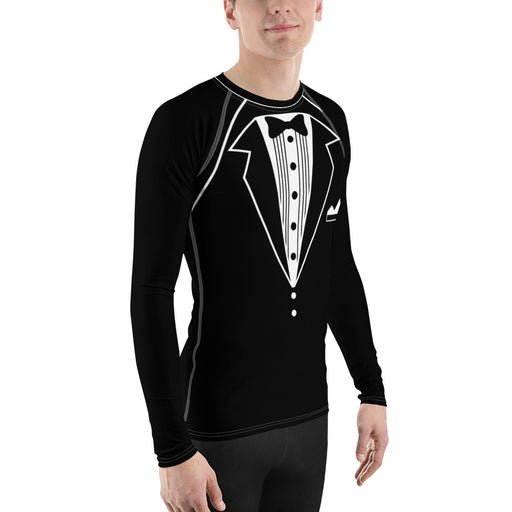 Funny 'Tuxedo' Men's Rash Guard - Novelty Suit Mens Rash Guards For MMA, BBJ, Judo and More