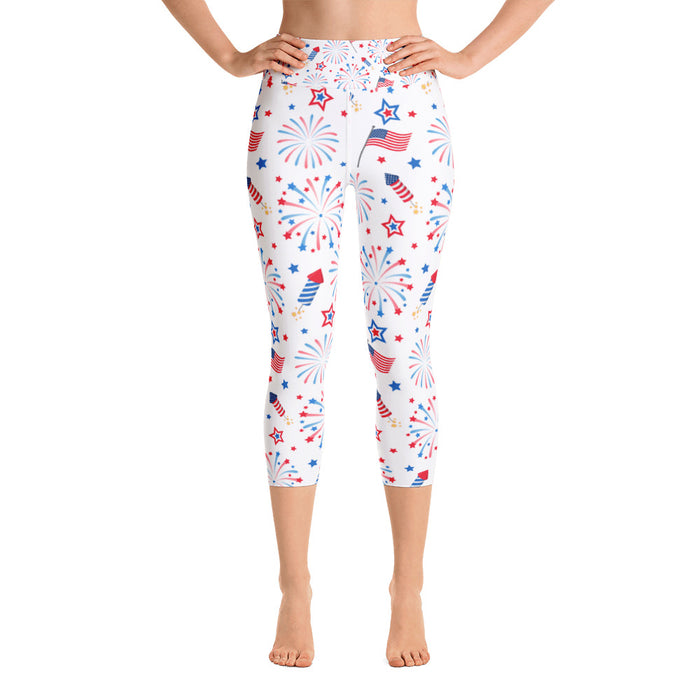 July 4th Festive Yoga Capri Leggings
