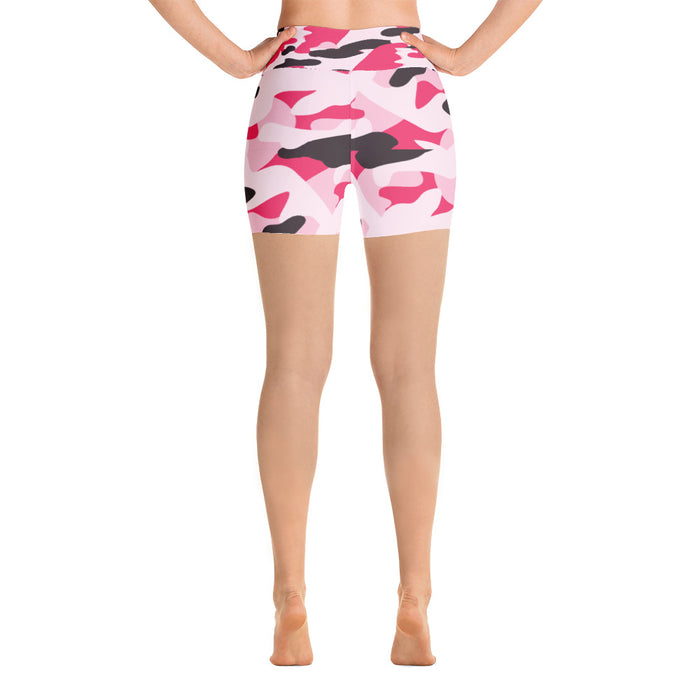Cute Pink Camo Yoga Shorts