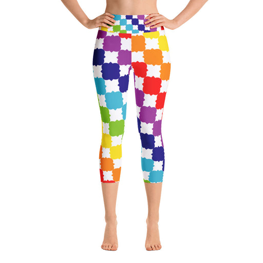 Rainbow Square Yoga Capri Leggings