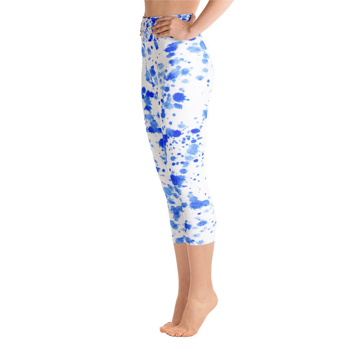 Blue Spatter Yoga Capri Leggings