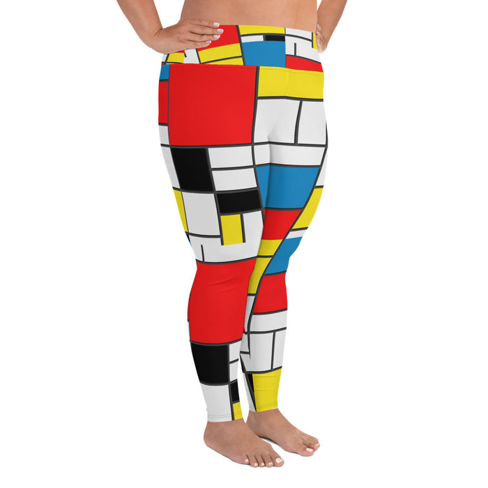 Mondrian Pattern Plus Size Yoga Leggings (up to 6XL ) - Cool XL Leggings - Women's Plus Sized Yoga Leggings – Plus Size Workout Pants – Plus Sized Gym Leggings