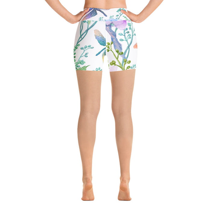 Birds and Flowers Yoga Shorts
