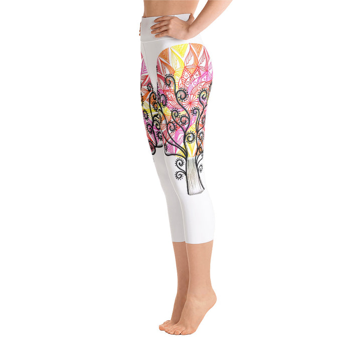 Mandala Tree Art Yoga Capri Leggings - Original Design by Meli