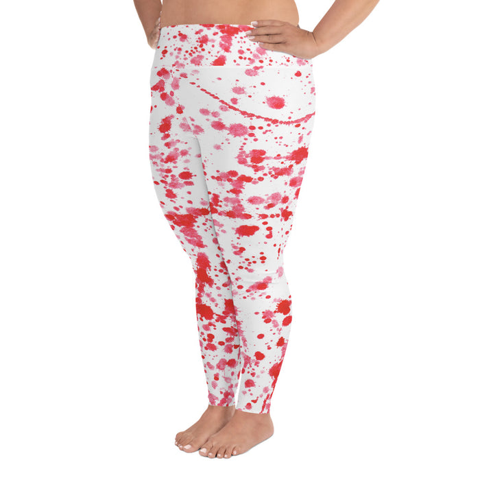 Red Color Spatter Plus Size Yoga Leggings (up to 6XL ) - Cool XL Leggings- Women's Plus Sized Yoga Leggings –Plus Size Workout Pants –Plus Sized  Gym Leggings