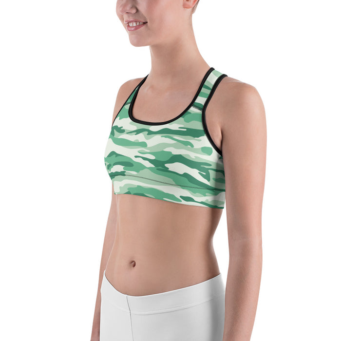 Fresh Green Camo Sports Bra