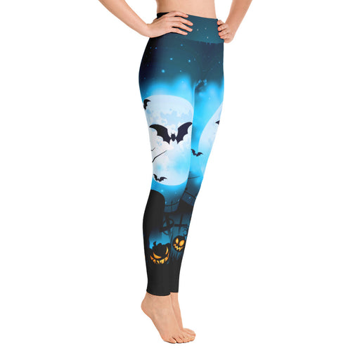 Cute Blue Night Halloween Yoga Leggings