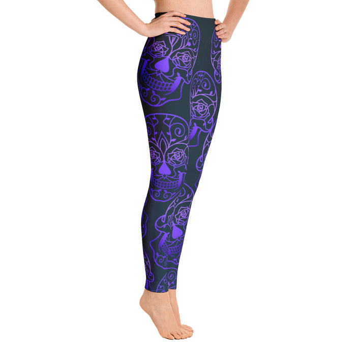 Cute Purple Sugar Skull Yoga Leggings