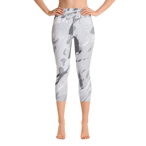 Grey White Splash Yoga Capri Leggings