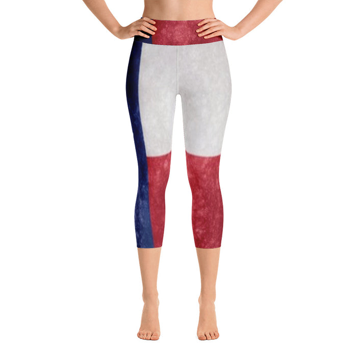 Cute Texas Flag Yoga Capri Leggings