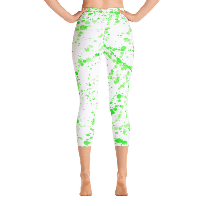 Green Spatter Yoga Capri Leggings