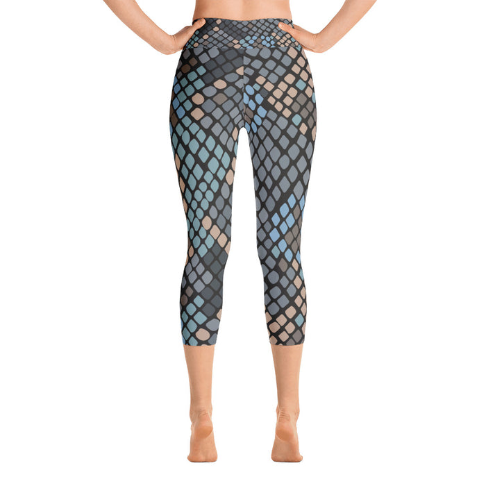 Blue Grey Snake Pattern Yoga Capri Leggings