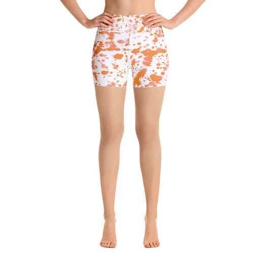Orange Spatter Yoga Shorts
