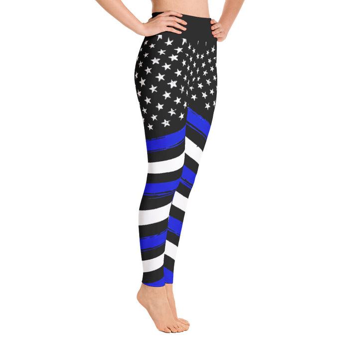 Cute Thin Blue Line Yoga Leggings