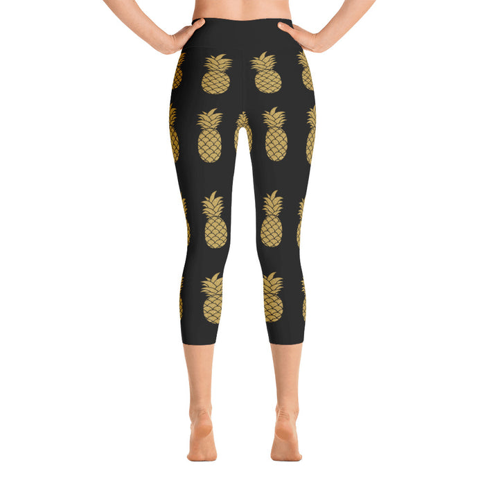 Cute Golden Pineapple Yoga Capri Leggings