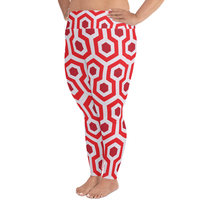 Red Pentogram Plus Size Yoga Leggings (up to 6XL ) - Cool XL Leggings - Women's Plus Sized Yoga Leggings – Plus Size Workout Pants – Plus Sized Gym Leggings