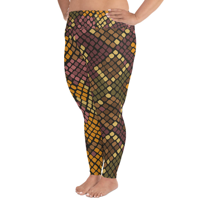 Orange and Black Snake Pattern Plus Size Yoga Leggings (up to 6XL ) - Cool XL Leggings- Women's Plus Sized Yoga Leggings –Plus Size Workout Pants –Plus Sized  Gym Leggings