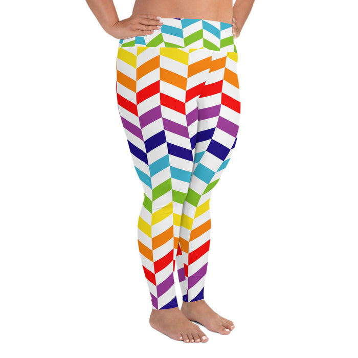 Cute Rainbow Pattern Plus Size Yoga Leggings (up to 6XL ) - Cool XL Leggings - Women's Plus Sized Yoga Leggings – Plus Size Workout Pants – Plus Sized Gym Leggings