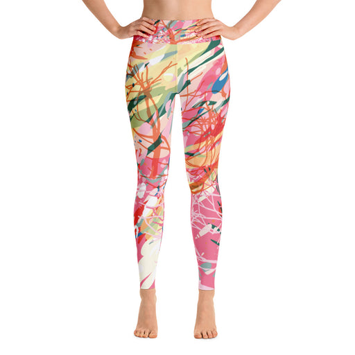 Pink Color Splash Yoga Leggings