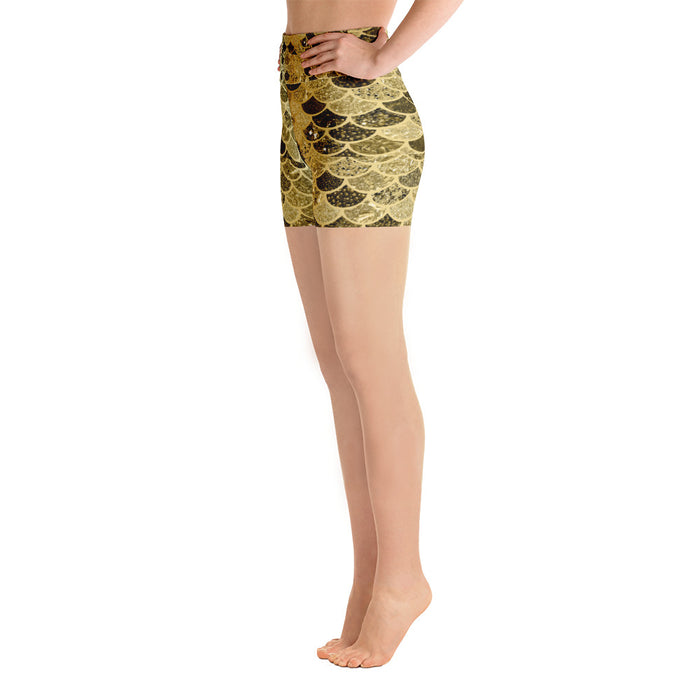 Cute Gold Mermaid Scale Yoga Shorts