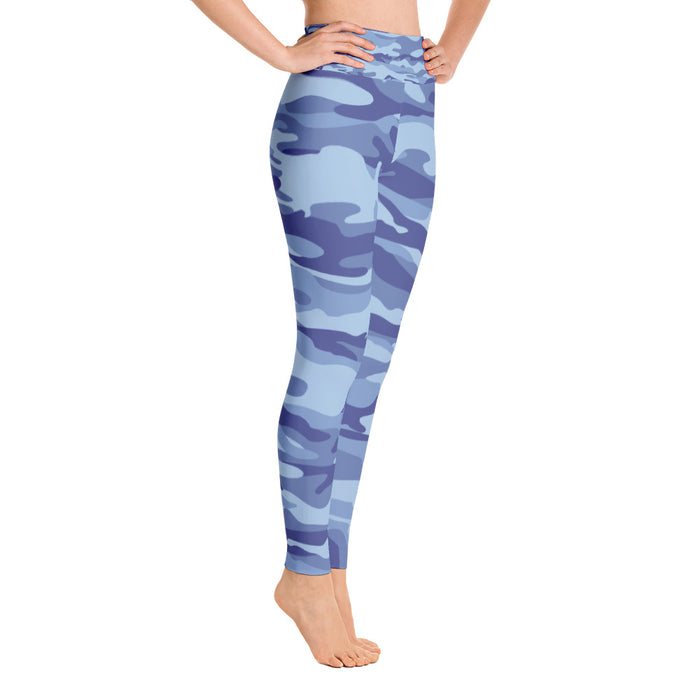 Cute Blue Camo Yoga Leggings