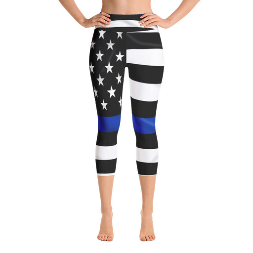 US Blue Lives Matter Flag Yoga Capri Leggings