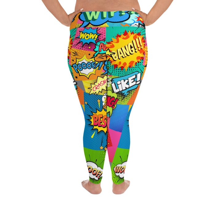 Cute Comicbook Plus Size Yoga Leggings (up to 6XL ) - Cool XL Leggings - Women's Plus Sized Yoga Leggings – Plus Size Workout Pants – Plus Sized Gym Leggings