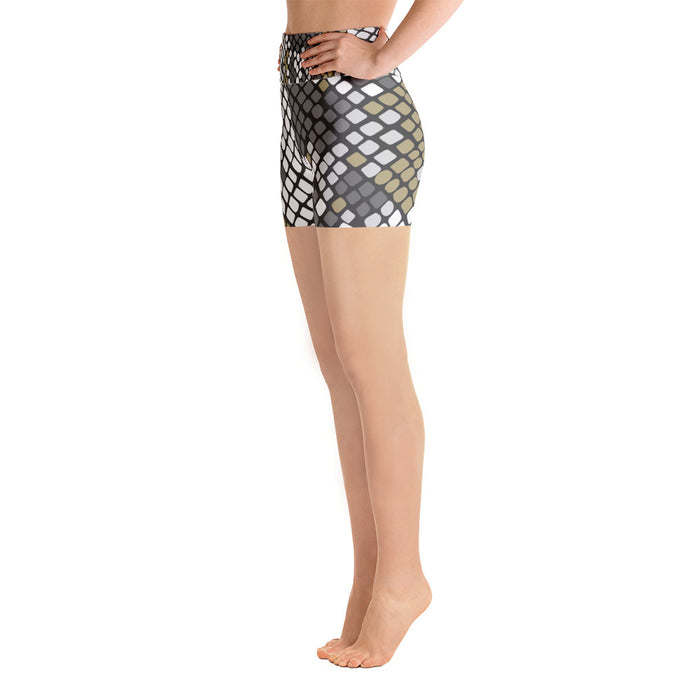 White Gold Snake Print Yoga Shorts