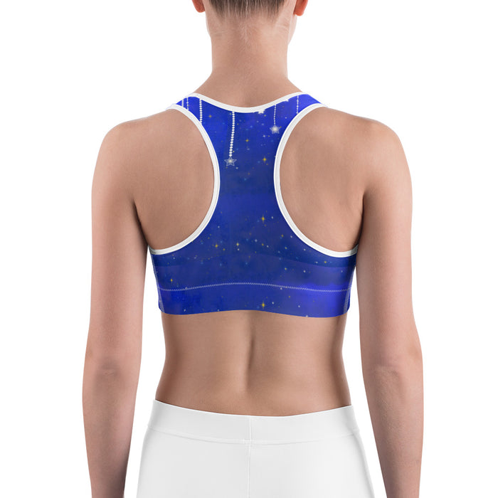 Blue Falling Star Yoga Sports Bra