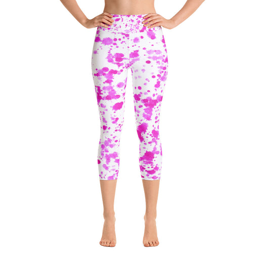 Pink Color Splatter Yoga Capri Leggings