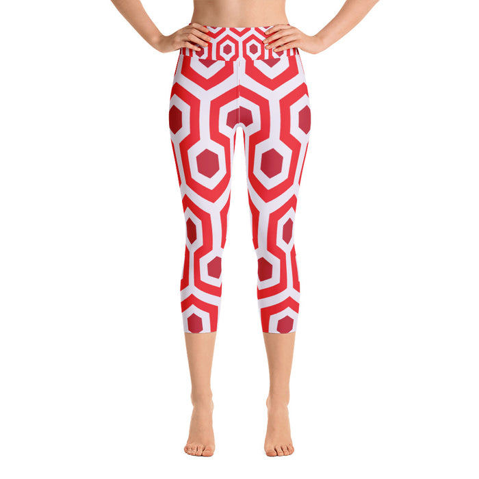 Red Pentogram Yoga Capri Leggings