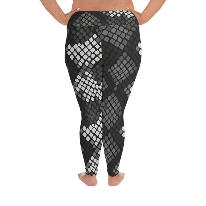 Cute Black Snake Pattern Plus Size Yoga Leggings (up to 6XL ) - Cool XL Leggings- Women's Plus Sized Yoga Leggings –Plus Size Workout Pants –Plus Sized  Gym Leggings