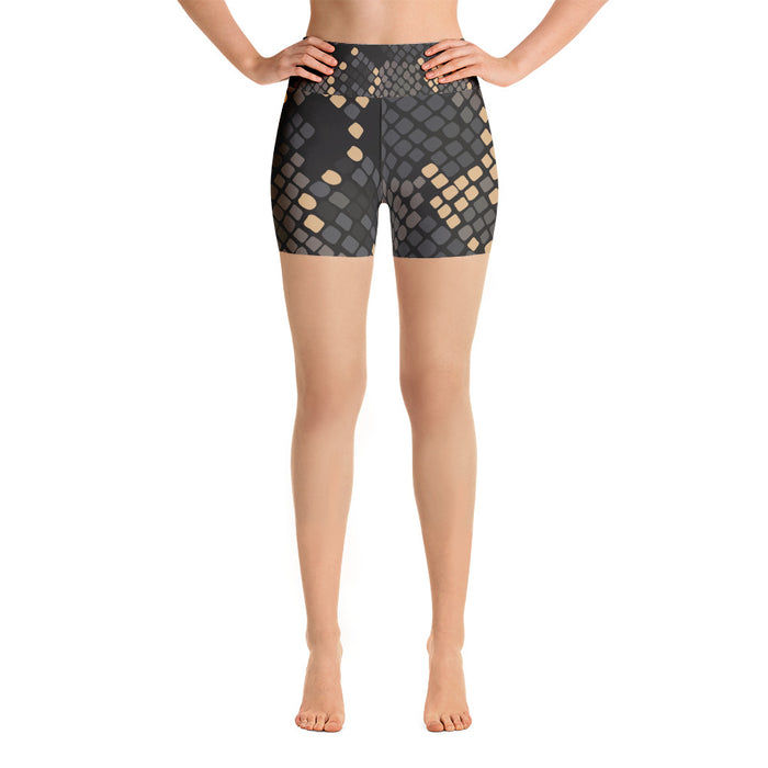 Cute Black and Gold Snake Pattern Yoga Shorts