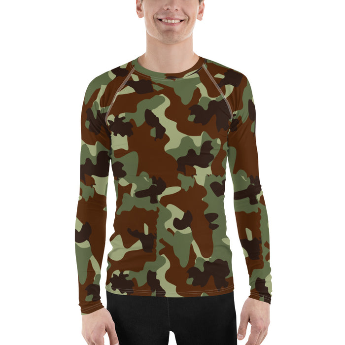 Cool Camo Men's Rash Guard - Green and Black Classic Camo Rash Guard for Men