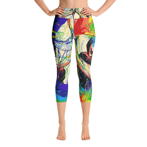 Cool Samurai Rainbow Yoga Capri Leggings