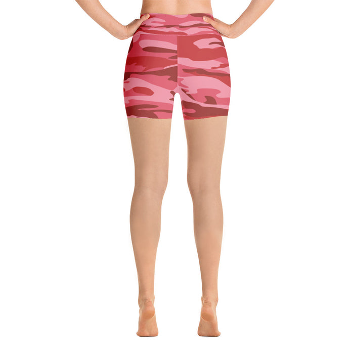 Cute Red Pink Camo Yoga Shorts