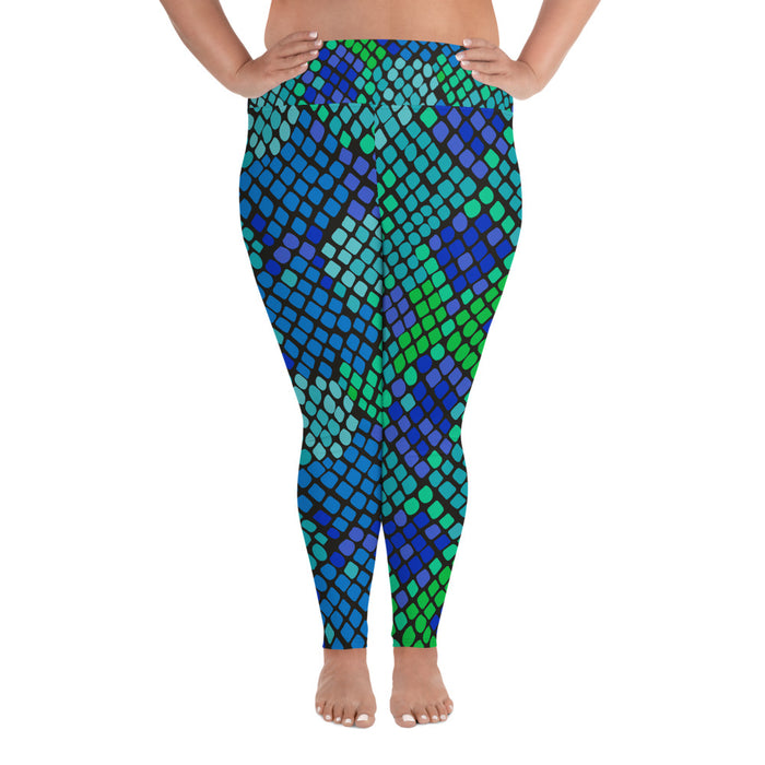 Cute Snake Pattern Blue and Green Plus Size Yoga Leggings (up to 6XL ) - Cool XL Leggings- Women's Plus Sized Yoga Leggings –Plus Size Workout Pants –Plus Sized  Gym Leggings